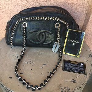 Chanel Black Leather Chain Bowling Bag Purse